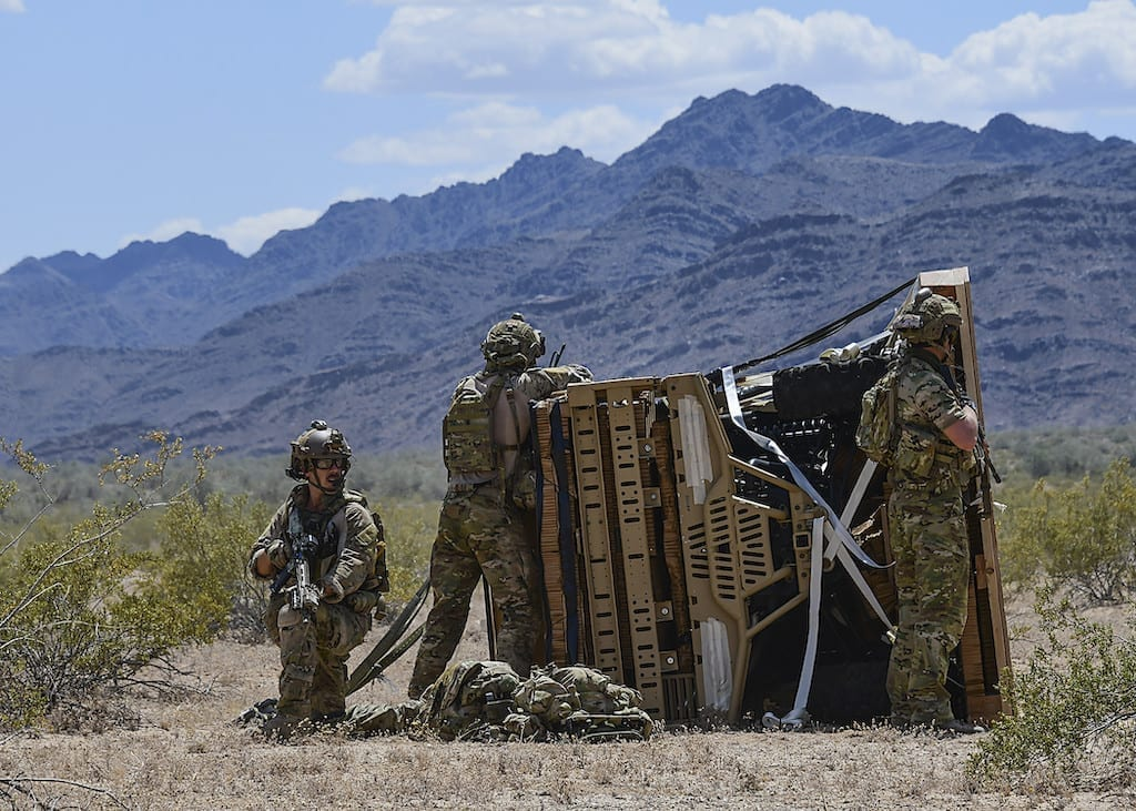 Air Force pararescuemen assigned to the 48th Rescue Squadron at Davis-Monthan Air Force Base, Ariz., conduct exercise scenarios during Razor's Edge, a two-week long pre-deployment exercise, at Parker, Ariz., April 12, 2019. (U.S. Air Force photo by Airman 1st Class Kristine Legate)
