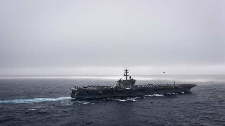 The aircraft carrier USS Theodore Roosevelt (CVN 71) transits the Pacific Ocean. Theodore Roosevelt is conducting routine operations in the eastern Pacific.