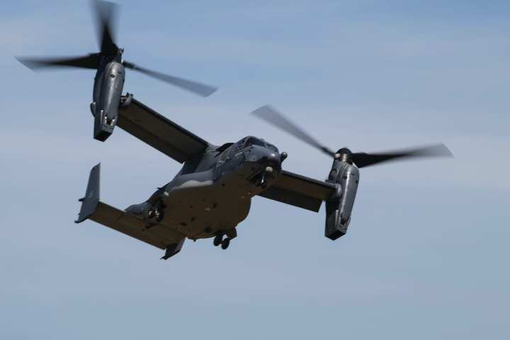 A U.S. Air Force CV-22 Osprey from the 8th Special Operations Squadron prepares to infill a joint special operations team of Air Force Special Tactics and U.S. Army Special Forces operators during a capabilities demonstration for Secretary of the Air Force Heather Wilson at Eglin Range Complex, Florida, May 3, 2018. Special Tactics operators are U.S. Special Operations Command's tactical air and ground integration force and the Air Force's special operations ground force to enable global access, precision strike and personnel recovery operations.