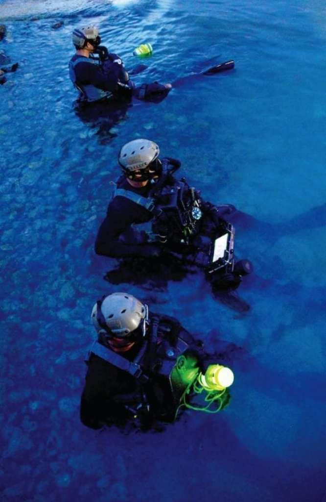 Members assigned to Naval Special Warfare Group 2 conduct military dive operations in the Gulf of Mexico, Oct. 11, 2018. U.S. Navy SEALs engage in a continuous training cycle to improve and further specialize skills needed during deployments across the globe