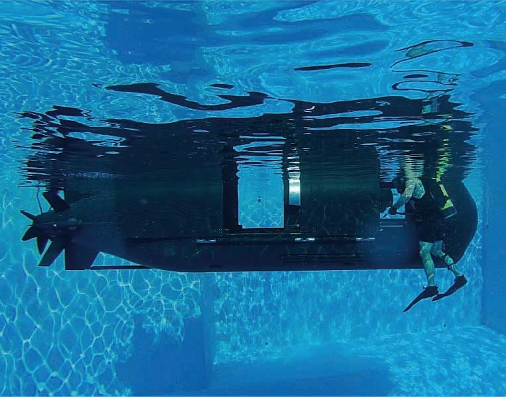 The Shallow Water Combat Submersible, which is slated to replace the current Mk 8 SEAL Delivery Vehicle, undergoing pool testing.