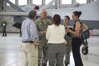 Lt. Gen. Arnold W. Bunch, Jr., speaks with media during the Light Attack Experimentation Campaign media day at Holloman Air Force Base, Aug. 9, 2017. U.S. Air Force image