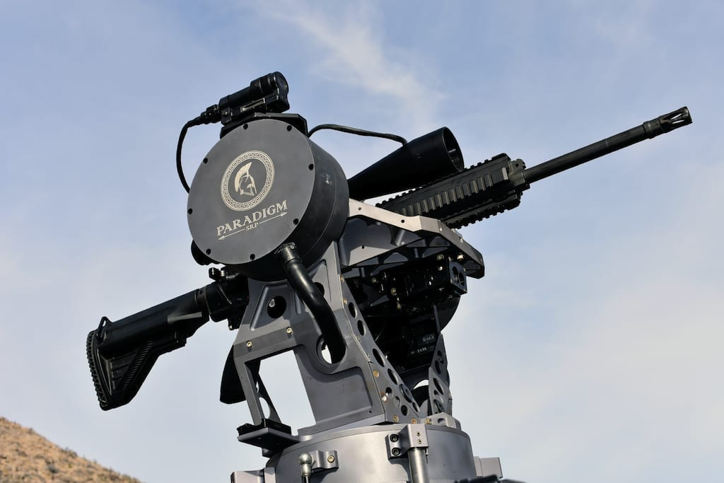 The Paradigm Talon weapon stabilization system is capable of carrying weapons up to .300 WinMag caliber