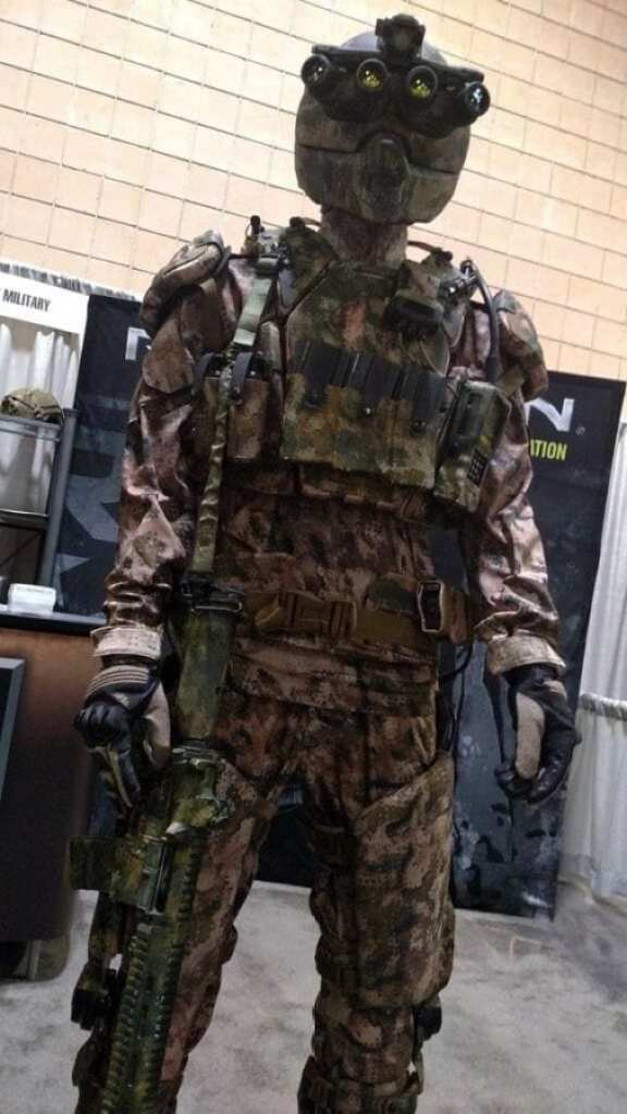 Revision Military's Kinetic Operations Suit demonstrated forward-looking TALOS technologies such as an exoskeleton, integral armor, and helmet with enhanced situational awareness features.