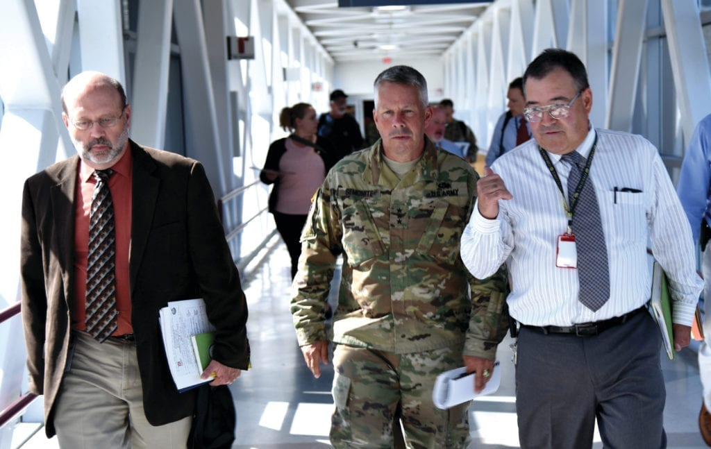 On July 26, U.S. Army Corps of Engineers Commanding General Lt. Gen. Todd Semonite toured the U.S. Government Moorings, located on the west bank of the Willamette River, and the Portland VA Health Care Hospital, among other visits within the Portland District.