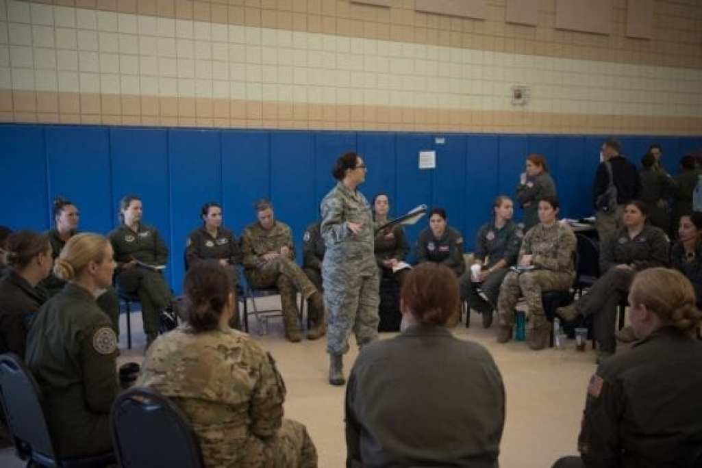 Air Force and Navy female aviators discuss some of the improvements they want to see made to their flight equipment during a Female Fitment Event at Joint Base Langley-Eustis, Va., June 4, 2019. (U.S. Air Force photo by Airman 1st Class Marcus M. Bullock)