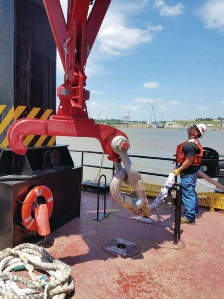 USACE Louisville District personnel continue testing new equipment that will raise the wickets on the dam at Olmsted, Illinois.