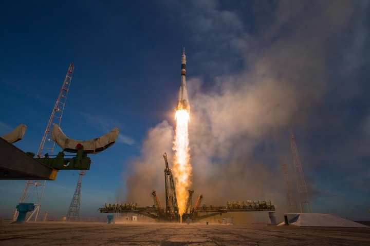 A Soyuz booster rocket launches the Soyuz MS-11 spacecraft from the Baikonur Cosmodrome in Kazakhstan on Monday, Dec. 3, 2018, Baikonur time, carrying Expedition 58 Soyuz Commander Oleg Kononenko of Roscosmos, Flight Engineer Anne McClain of NASA, and Flight Engineer David Saint-Jacques of the Canadian Space Agency (CSA) into orbit to begin their six and a half month mission on the International Space Station. Photo Credit: (NASA/Aubrey Gemignani)