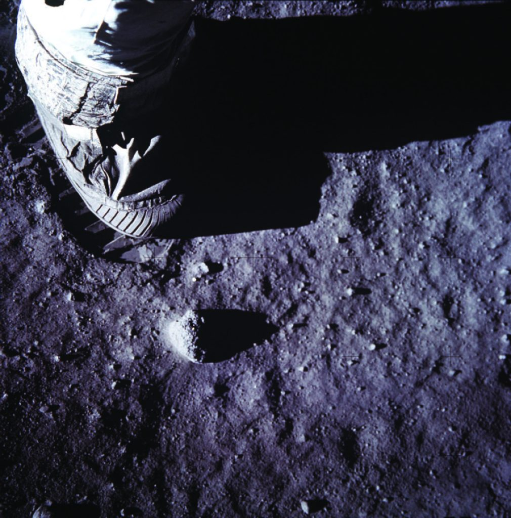 Armstrong's boot and footprint on the surface of the Moon.