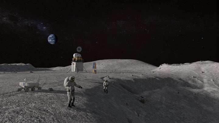 astronauts lunar crater