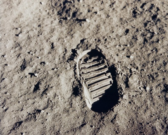 The bootprint marks one of the first steps human beings took on the Moon in July 1969. It was made by American astronaut Buzz Aldrin during the Apollo 11 mission.