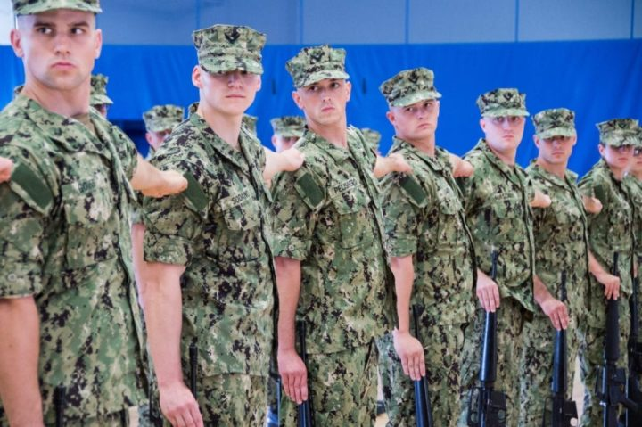 Officer Candidate School (OCS) class 03-20 practices drill and ceremony, Sept. 23, 2019. OCS develops civilians and fleet Sailors into newly commissioned offers morally, mentally, physically and imbue them with the highest ideals of honor, courage and commitment in order to prepare graduates for service in the fleet as Naval officers. (U.S Navy photo by Darwin Lam/Released)