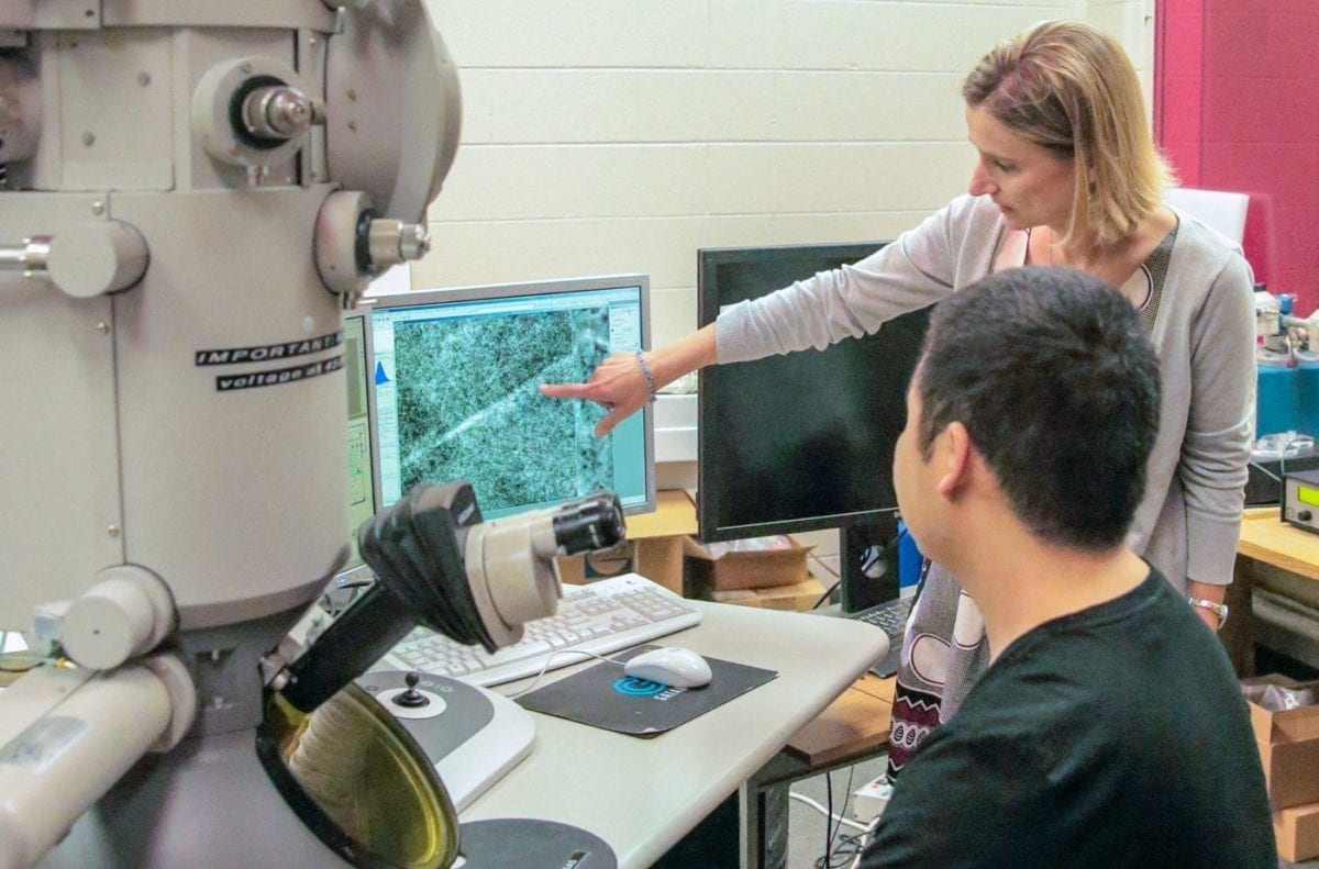 Professor Izabela Szlufarska and postdoctoral researcher Hongliang Zhang at the University of Wisconsin-Madison demonstrate a new mechanism for bending metal that could help guide the creation of stronger, more durable materials for military vehicles. Researchers on the project were funded by the Army Research Office.