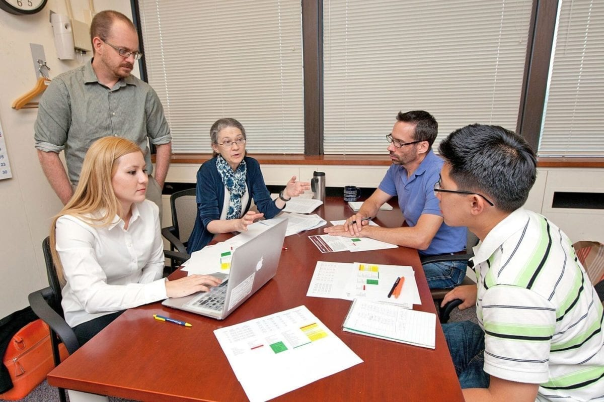 ARL scientists and visiting student researchers make use of Open Campus space to work out stylometry challenges to advance the potential of automated linguistic-type analysis, or stylometry, to determine authorship attribution of source code. The group, pictured in 2014 after the launch of Open Campus, are, from left to right: ARL network-science researcher Dr. Richard Harang, Drexel University guest researcher Aylin Caliskan-Islam, ARL computational linguist Dr. Clare Voss, ARL computational linguist Jeffrey Micher, and University of Maryland student and Army College Qualified Leader program participant Andrew Liu.