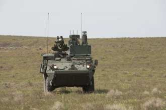 Soldiers operating a Stryker Control Vehicle, belonging to 445th Chemical Company, participates in a demonstration in support of the Joint Warfighter Assessment 19, at Yakima Training Center, Wash., April 25, 2019. The Joint Warfighting Assessment was designed to assess multi-domain operations concepts, capabilities, and formations at echelon in order to provide critical insights and feedback on the Army modernization efforts. (Photo Credit: Spc. Patrick Hilson)