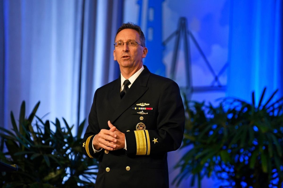Rear Adm. David J. Hahn, chief of naval research, gives the keynote address during the 2018 OCEANS conference and exposition. The semi-annual event brings together global marine technologists, engineers, scientists, students, government officials, lawyers, and advocates focusing on breakthrough innovations and technology advances for protecting and sustaining our oceans and coasts.
