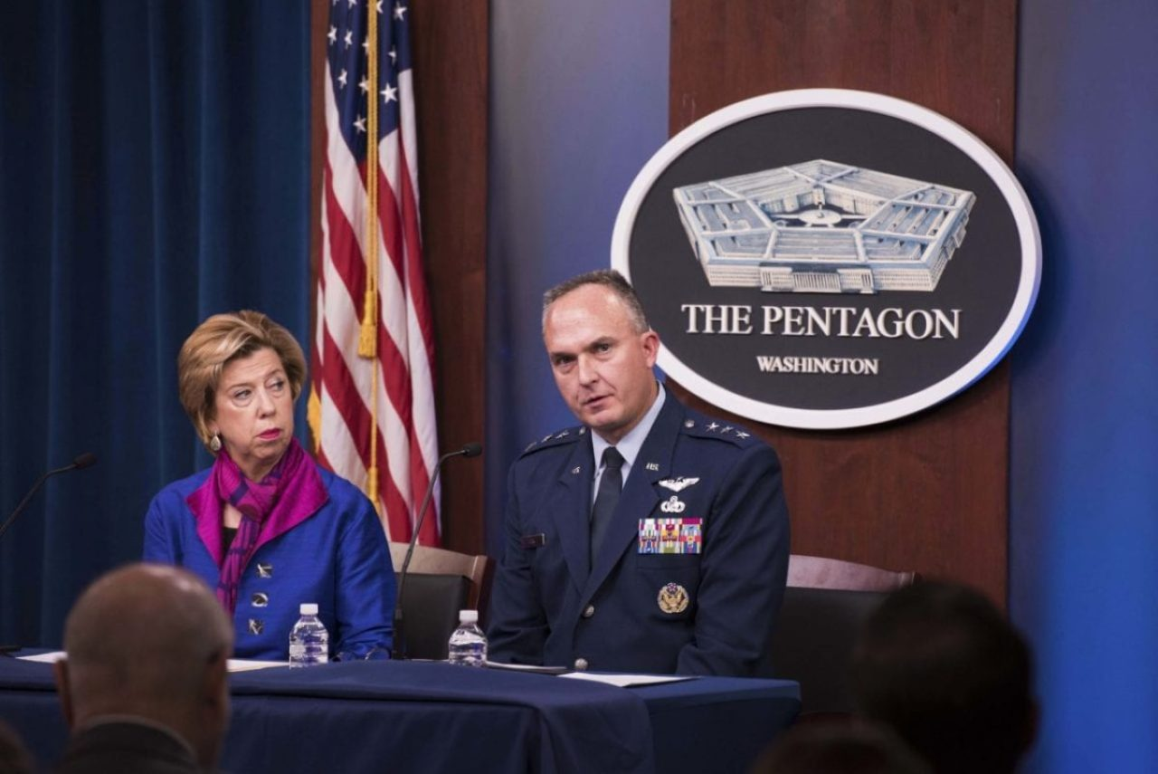 Undersecretary of Defense for Acquisition and Sustainment Ellen M. Lord and Air Force Lt. Gen. Eric T. Fick, F-35 program executive officer, hold a news conference on the F-35 aircraft program at the Pentagon, Oct. 29, 2019.