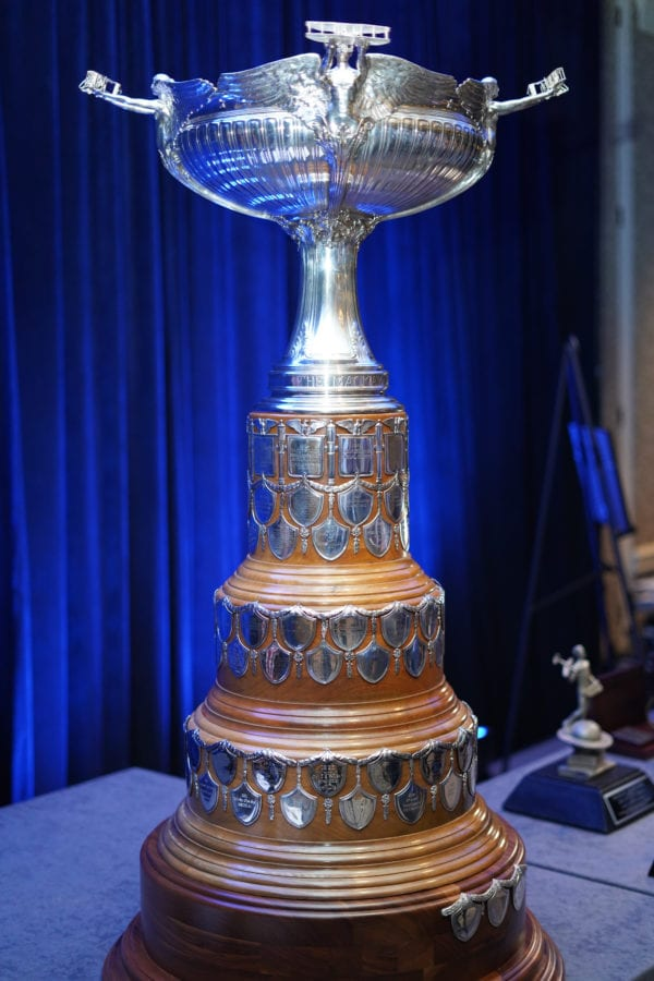 The Clarence Mackay Trophy sits on a table at the National Aeronautic Association Fall Awards dinner at the Crystal Gateway Marriott in Arlington, Virginia, Nov. 13, 2019. (Courtesy photo)