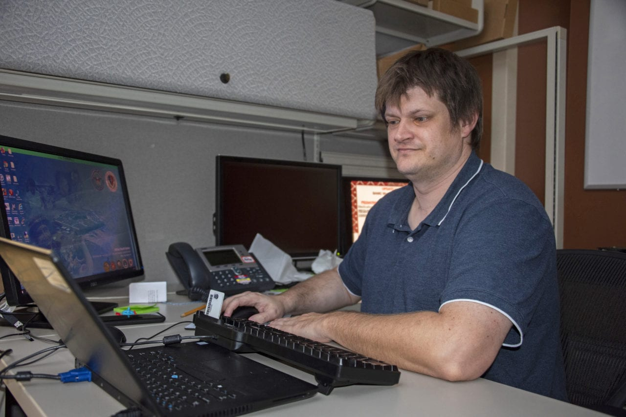 Ezra Poetker, radiology informatics system administrator, monitors radiology information systems for irregularities at Brooke Army Medical Center, Fort Sam Houston, Texas, Oct. 4, 2019. Radiology Informatics supports all radiology selections and is essential in the interpretation of more than 275,000 patient studies each year.