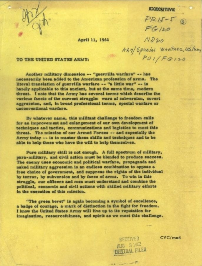 JFK letter to Army Special Forces