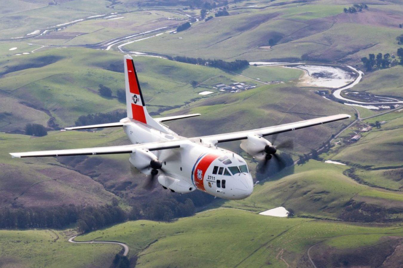 A Coast Guard C-27J aircrew, assigned to Coast Guard Air Station Sacramento, flies along the California coastline during area familiarization training, Feb. 6, 2018.