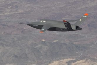 The Air Force Research Laboratory and Kratos Defense & Security Solutions, Inc., completed the successful fourth flight of the XQ-58A Valkyrie demonstrator, a long-range, high subsonic unmanned air vehicle, at Yuma Proving Grounds, Arizona, on Jan. 23, 2020. The vehicle is pictured here during a 2019 flight. (U.S. Air Force photo/2nd Lt. Randolph Abaya, 586 Flight Test Squadron.)
