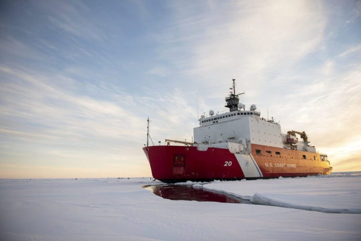 The U.S. Coast Guard Cutter Healy (WAGB-20) is in the ice Wednesday, Oct. 3, 2018, about 715 miles north of Barrow, Alaska, in the Arctic. The Healy is in the Arctic with a team of about 30 scientists and engineers aboard deploying sensors and autonomous submarines to study stratified ocean dynamics and how environmental factors affect the water below the ice surface for the Office of Naval Research. The Healy, which is homeported in Seattle, is one of two ice breakers in U.S. service and is the only military ship dedicated to conducting research in the Arctic. (NyxoLyno Cangemi/U.S. Coast Guard)
