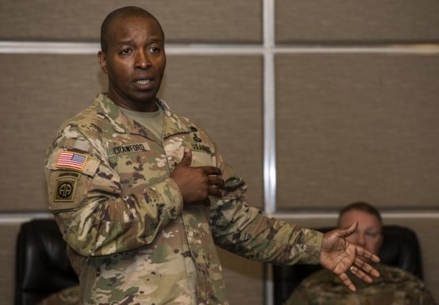 Lt. Gen. Bruce T. Crawford, the Army's chief information officer/G-6, attends a working lunch during the Joint Warfighting Assessment on Joint Base Lewis-McChord, Wa., May 1, 2019. Crawford spoke about the Army's Enterprise Cloud Management Office that is expected to be in full swing by March during an AFCEA conference in McLean, Va., Jan. 21, 2020. (Photo Credit: Sgt. Torrance Saunders