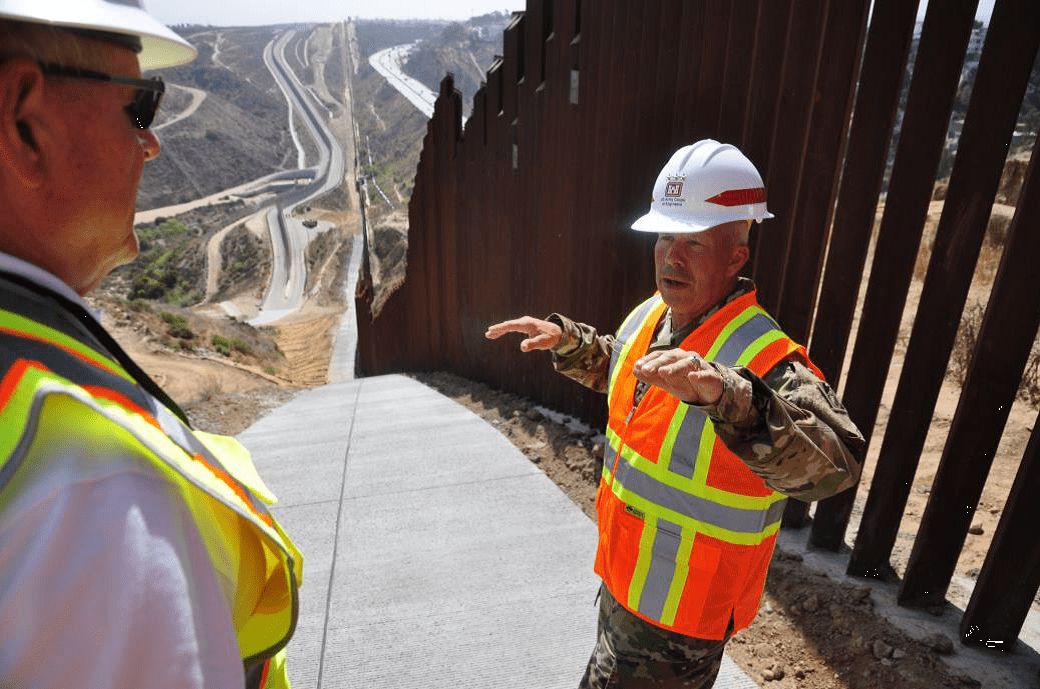 USACE Commanding General Lt. Gen. Todd Semonite conducted border-barrier construction site visits near San Diego, California, on July 9, 2019. Border security is part of the growing USACE portfolio that is driving the Revolutionize effort. (Photo by San Luciano Vera)