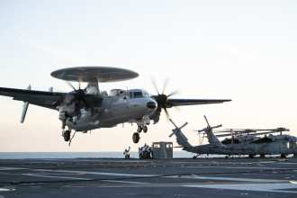 U.S. Navy Hawkeye Lands on US Navy Aircraft Carrier Gerald R. Ford