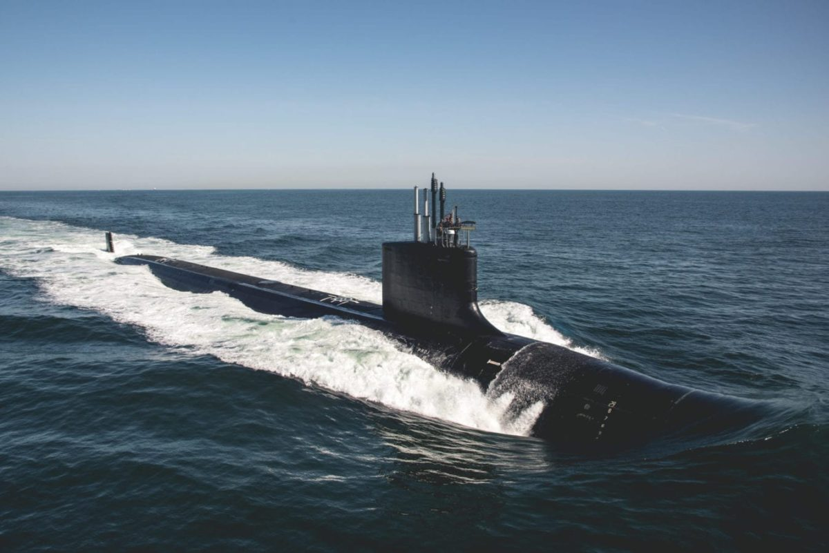 The latest Virginia-class attack submarine, USS Delaware (SSN 791), conducts Bravo sea trials in the Atlantic Ocean. (U.S. Navy photo courtesy of HII by Ashley Cowan/Released)