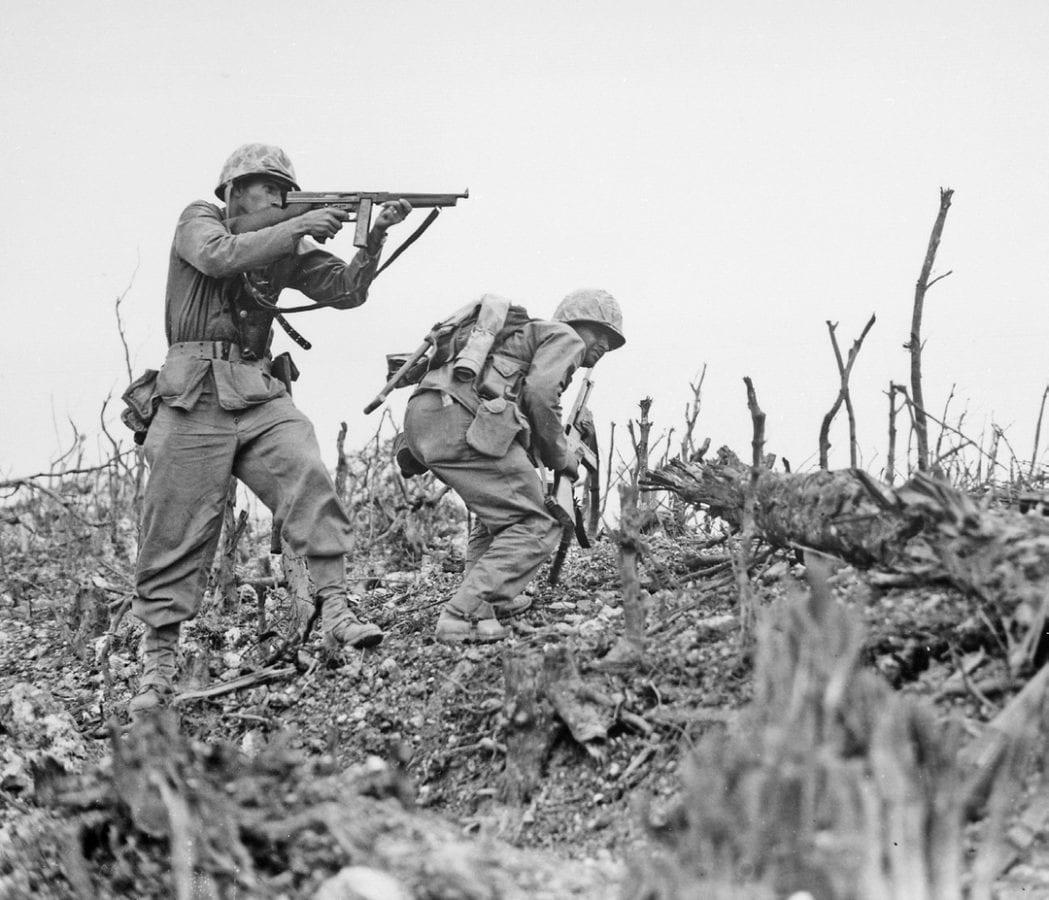 Marines on Okinawa Thompson M1 submachine gun and Browning Automatic Rifle