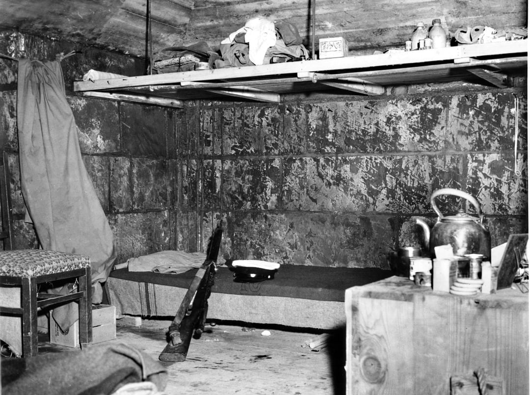 This shelter was captured without damage. Though sparse in amenities, structures like this offered their Japanese inhabitants one comfort that was not enjoyed by any Marines on Iwo Jima: the protection of thick concrete walls. U.S. MARINE CORPS PHOTO