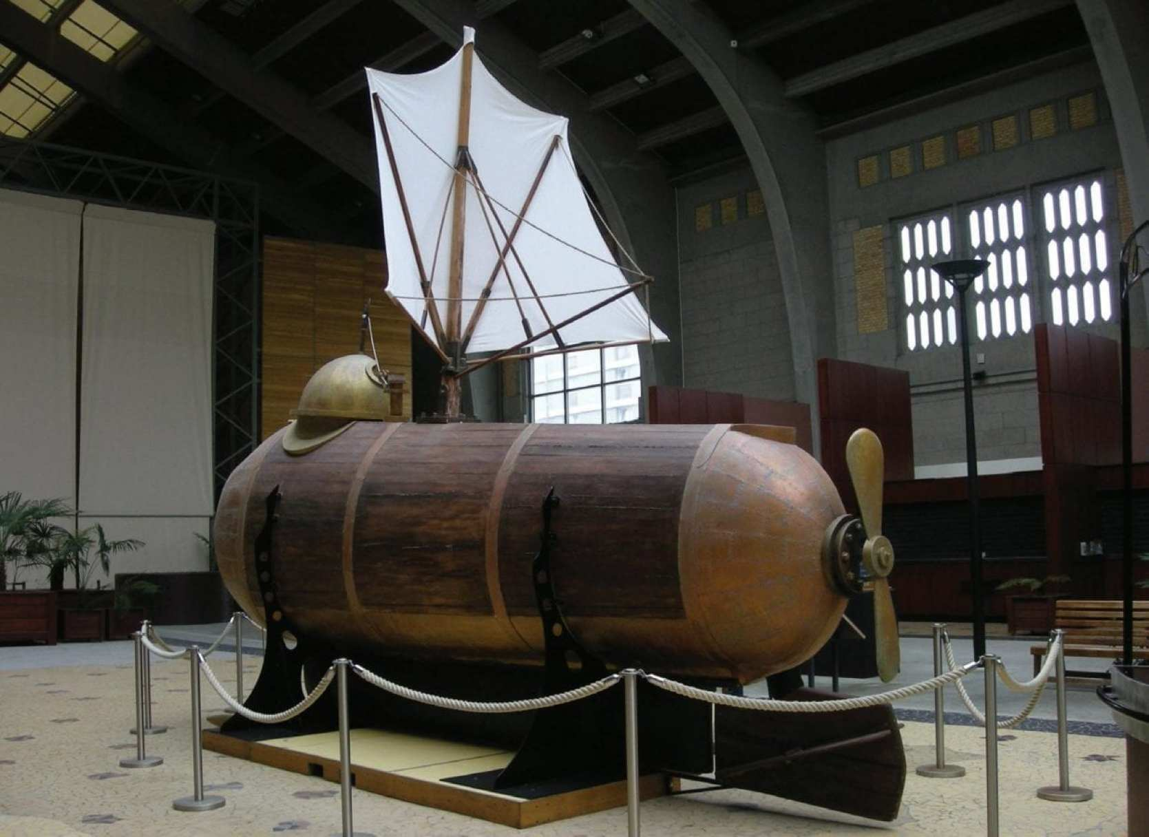 A reconstruction of Robert Fulton's Nautilus, considered the first practical submarine.