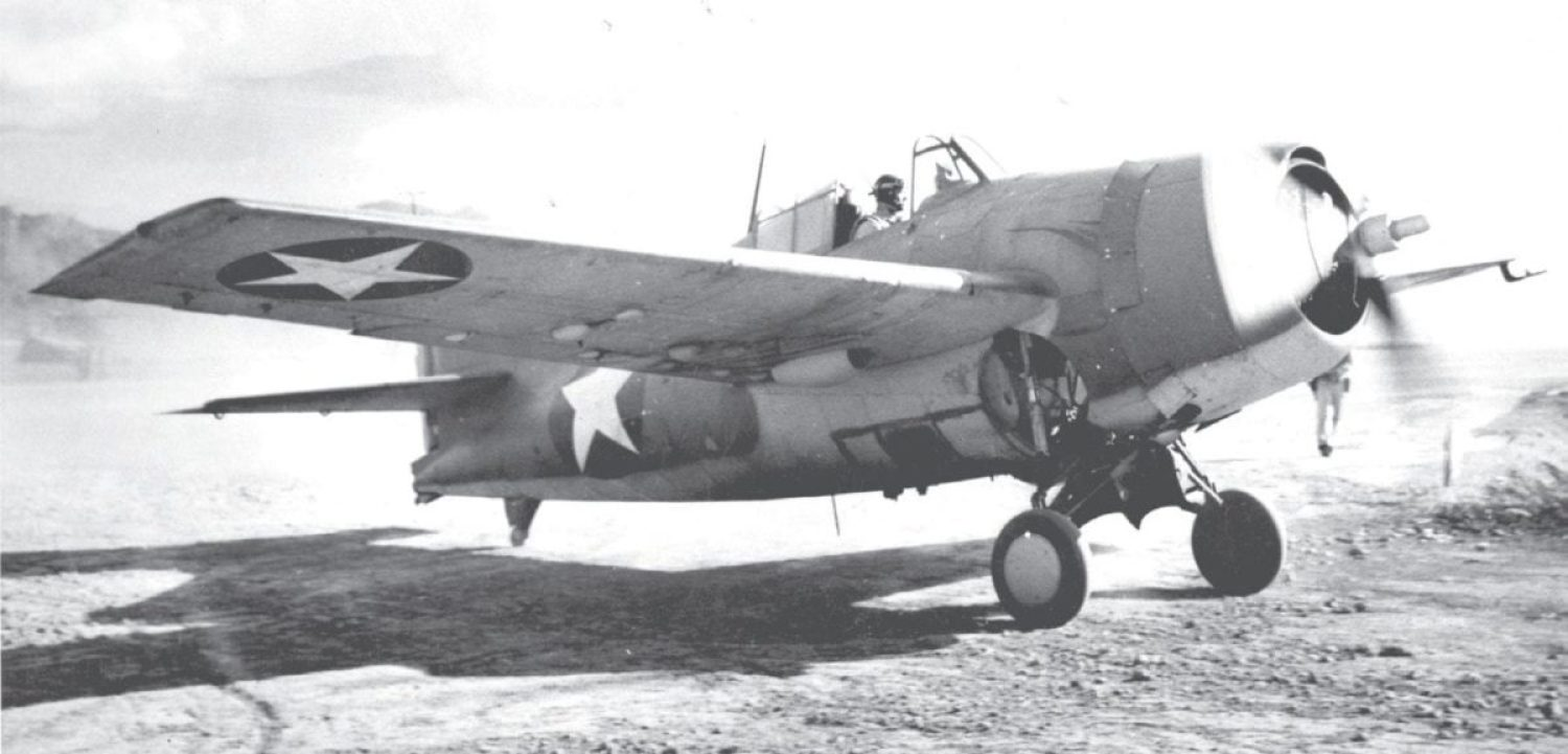 A Marine Corps F4F Wildcat returns to Henderson Field after a sortie. Once seized, islands became unsinkable aircraft carriers from which Navy, Marine Corps, and Army Air Forces squadrons carried the fight to the enemy. U.S. Naval History and Heritage Command Photo