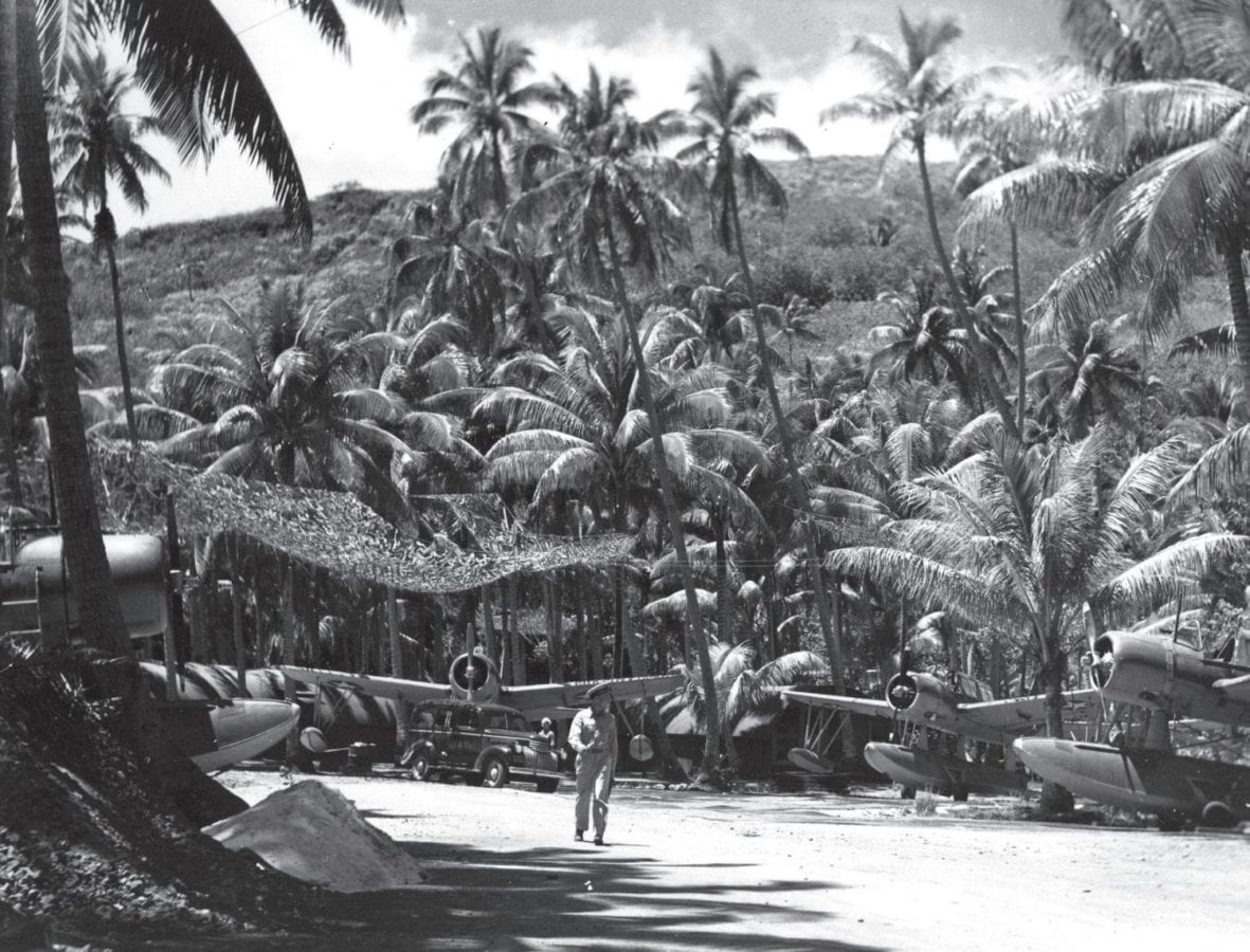 Vought Kingfisher floatplanes of Detachment 14, Scouting Squadron Two (VS-2) dispersed in the trees on Bora Bora during July-August 1942. While the concept of seizing advance island bases and using them as airfields and logistics bases was sound, Operation Bobcat, in accomplishing this on Bora Bora, proved there were many kinks to work out in turning theory into practice. U.S. Naval History and Heritage Command Photo