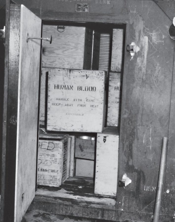 Grim as this supply container might seem, its contents undoubtedly saved some lives. MARINE CORPS HISTORICAL CENTER PHOTO