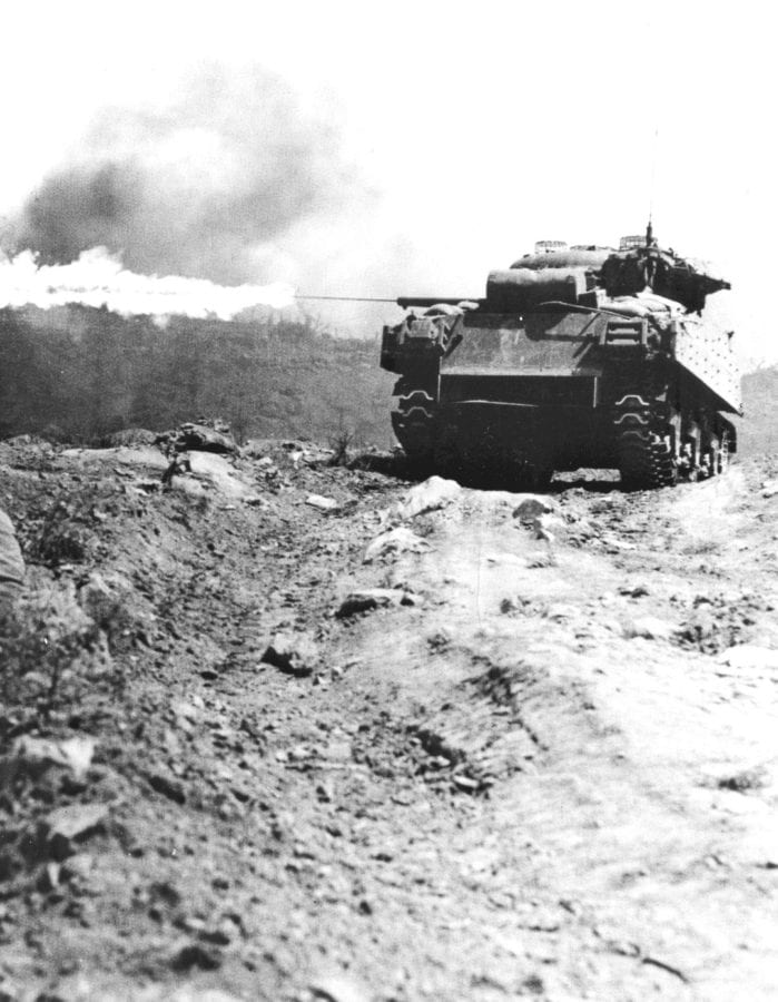 M4A3R3 Sherman tanks equipped with the Navy Mk. 1 flamethrower