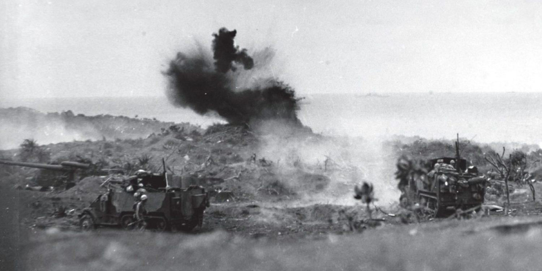 Marine Corps Halftrack Scores Hit Iwo Jima