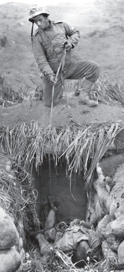 Marine Wary of Booby Traps Iwo Jima
