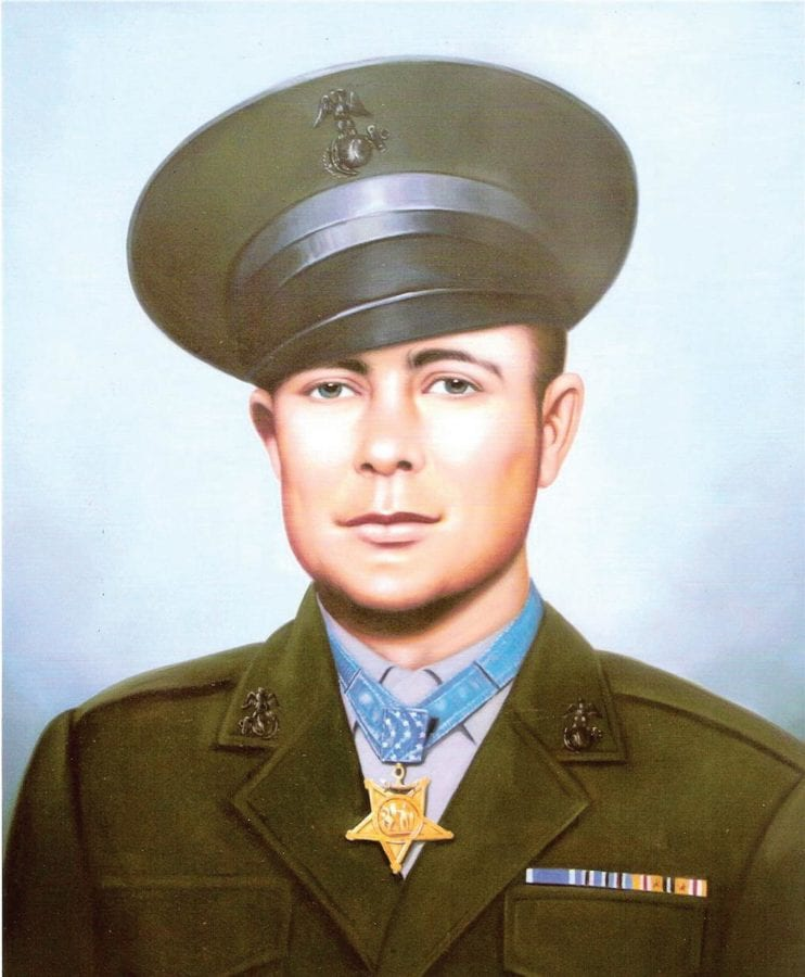 An image of Williams wearing the Medal of Honor he was awarded for his actions on Iwo Jima. PHOTO COURTESY OF HERSHEL WILLIAMS MEDAL OF HONOR FOUNDATION
