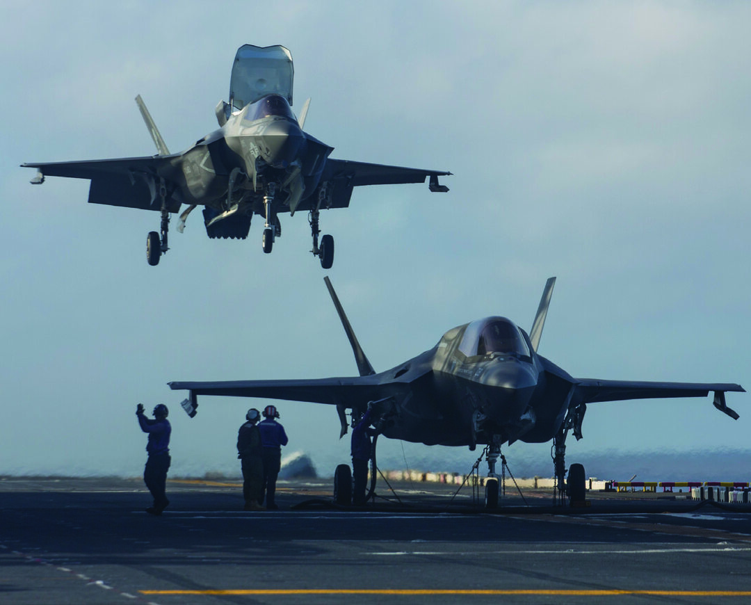 F-35B Lightning ll fighter aircraft assigned to Marine Medium Tiltrotor Squadron (VMM) 265 (Reinforced) aboard USS Wasp (LHD )