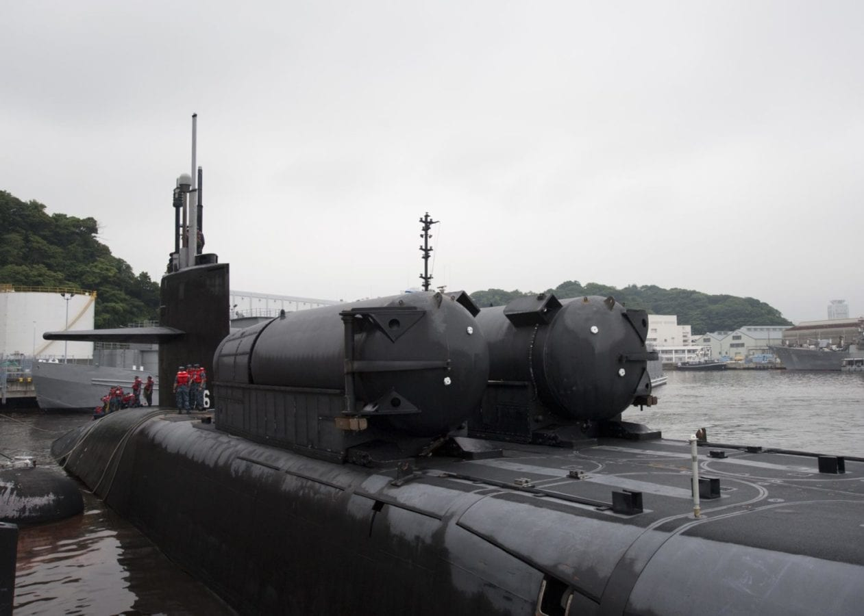 Ohio-class guided-missile submarine USS Ohio (SSGN 726) with two Dry Deck Shelters (DDS) fitted