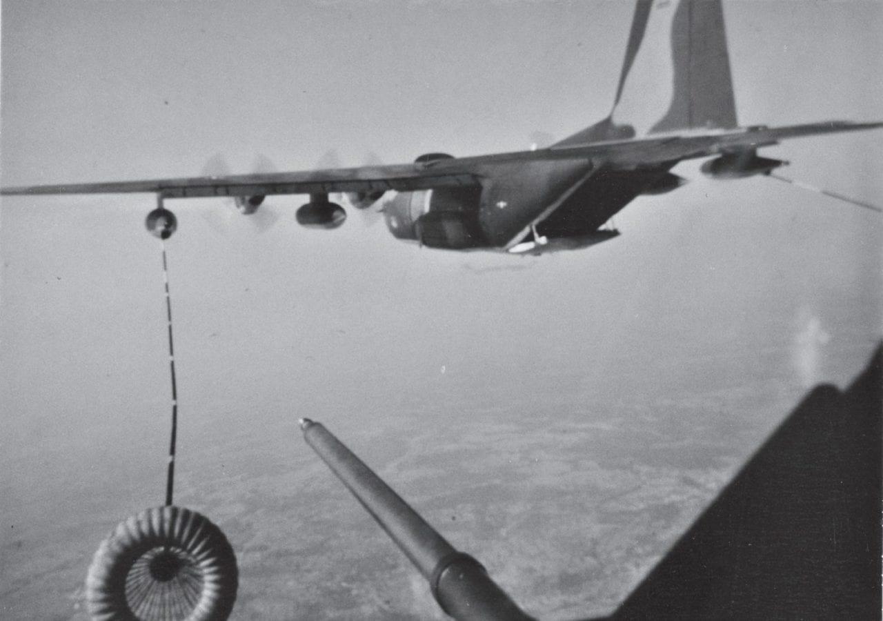 CH-53C approaches an HC-130P tanker Vietnam War