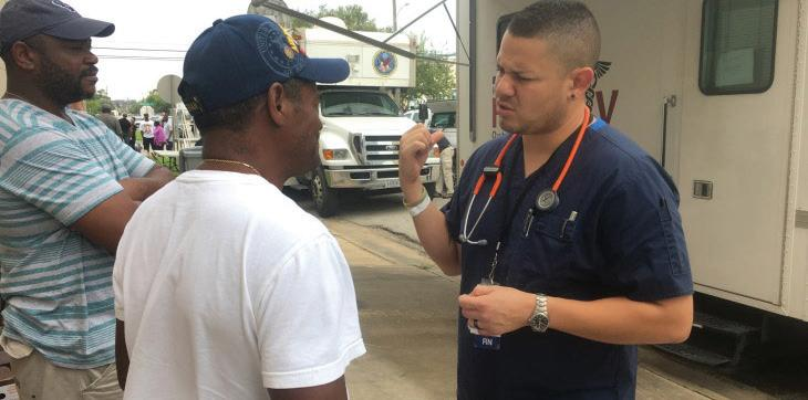 David Barron, at right, a nurse with the El Paso VA Health Care System, was dispatched to Houston, Texas, in the wake of Hurricane Harvey to provide medical assistance through the Disaster Emergency Management Personnel System (DEMPS). DEMPS volunteers play a critical role in VA's disaster and emergency response efforts.