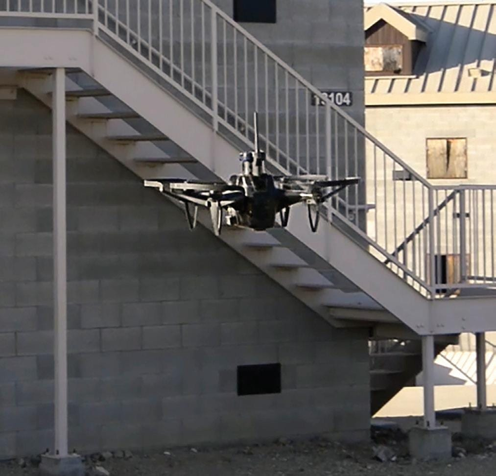 Personnel from Naval Special Warfare Command (NSWC) test the room-clearing capabilities of Shield AI's Nova class of artificially intelligent unmanned aerial systems.
