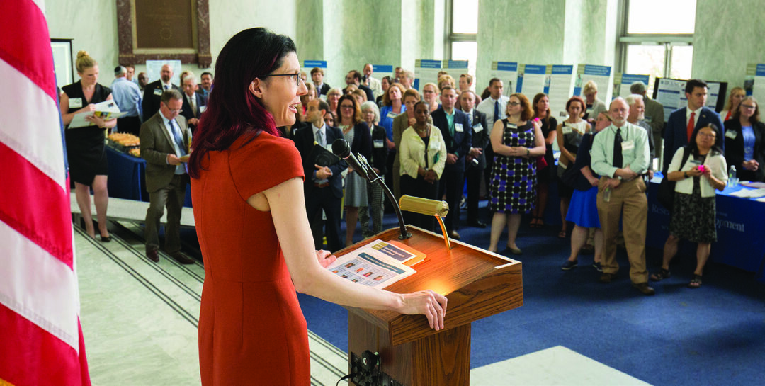 Ramoni addresses attendees of the VA Research Fair held on June 19, 2018, in the foyer of the Rayburn House Office Building in Washington, D.C. VA scientists were on hand to showcase their medical research advances aimed at improving the lives of veterans.