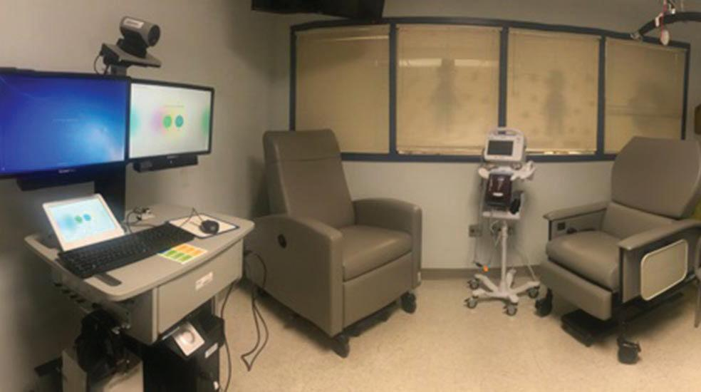 A treatment room at the nation's first remote chemotherapy clinic, located at the James E. Van Zandt VA Medical Center in Altoona, Pennsylvania.