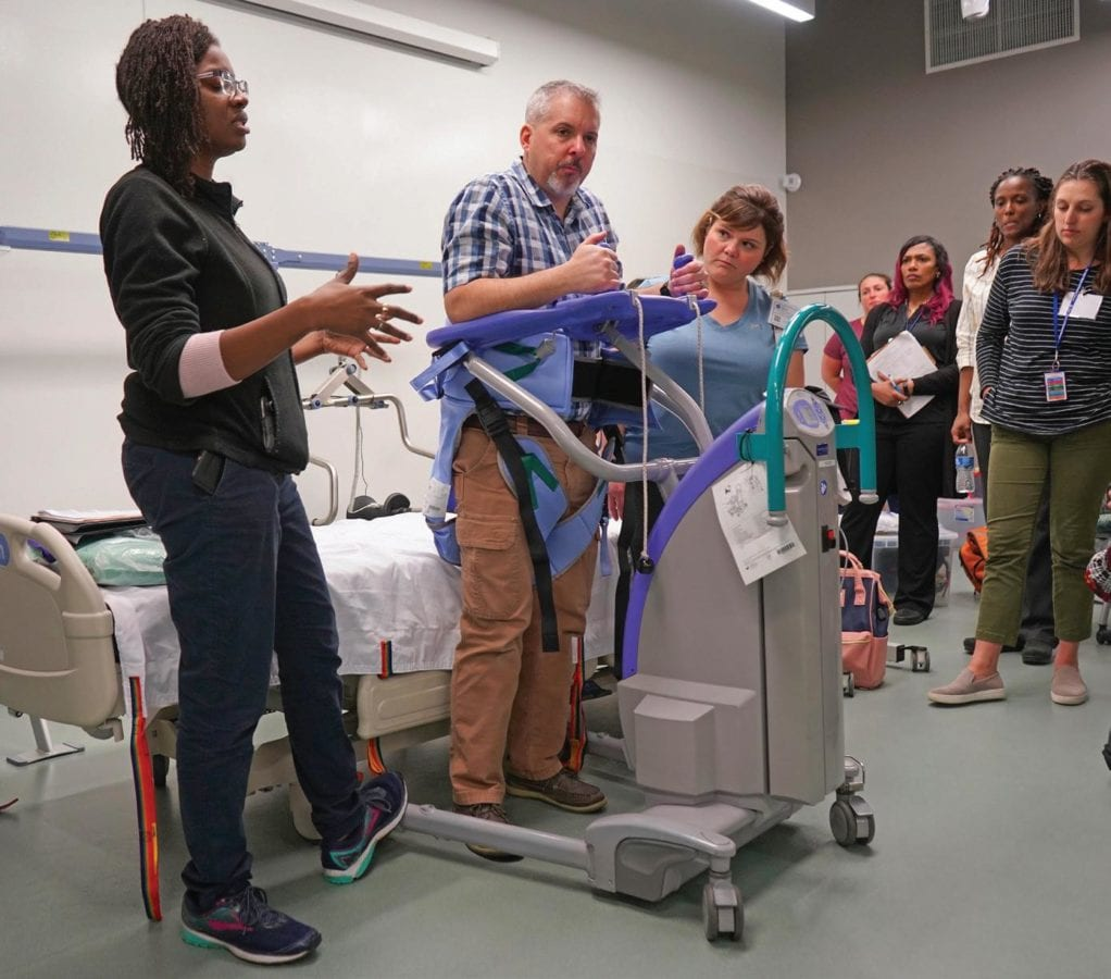 Training personnel to utilize Safe Patient Handling and Mobility technologies is accomplished using several methodologies, including competency development with peer leaders, didactic instruction, and simulation.