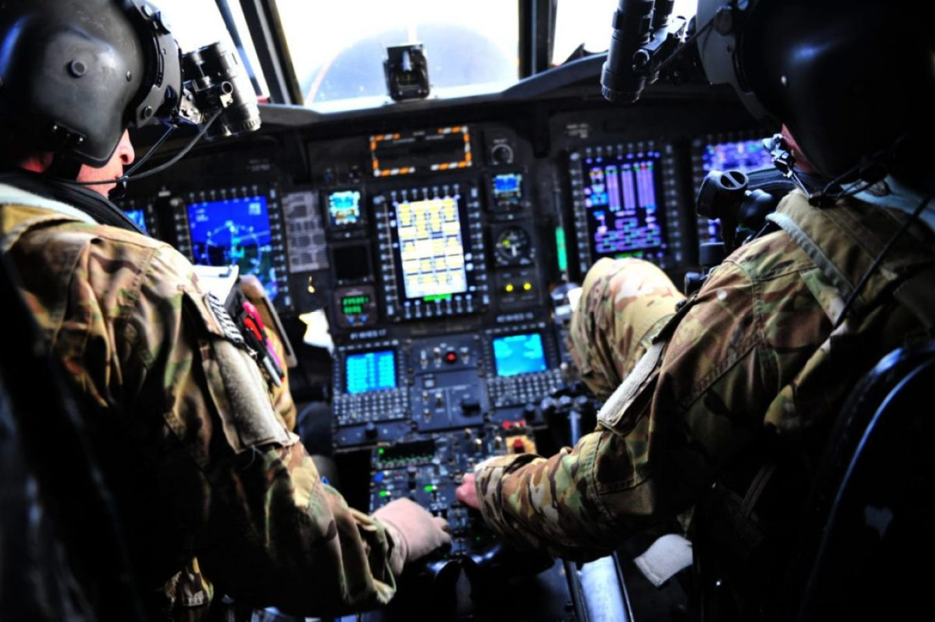 U.S. Army MH-47G Chinook helicopter cockpit